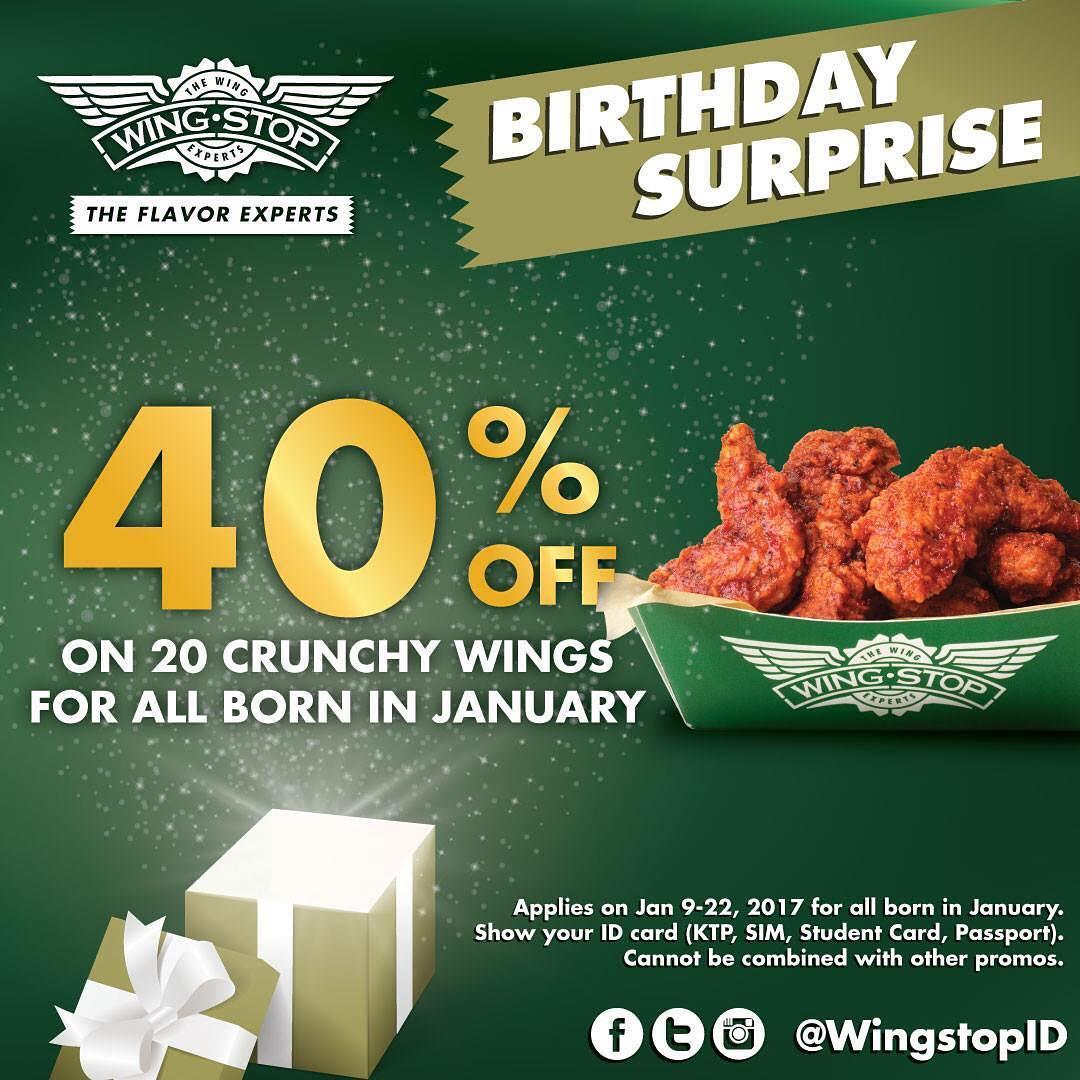 Wingstop 40 Off January Birthday Promo