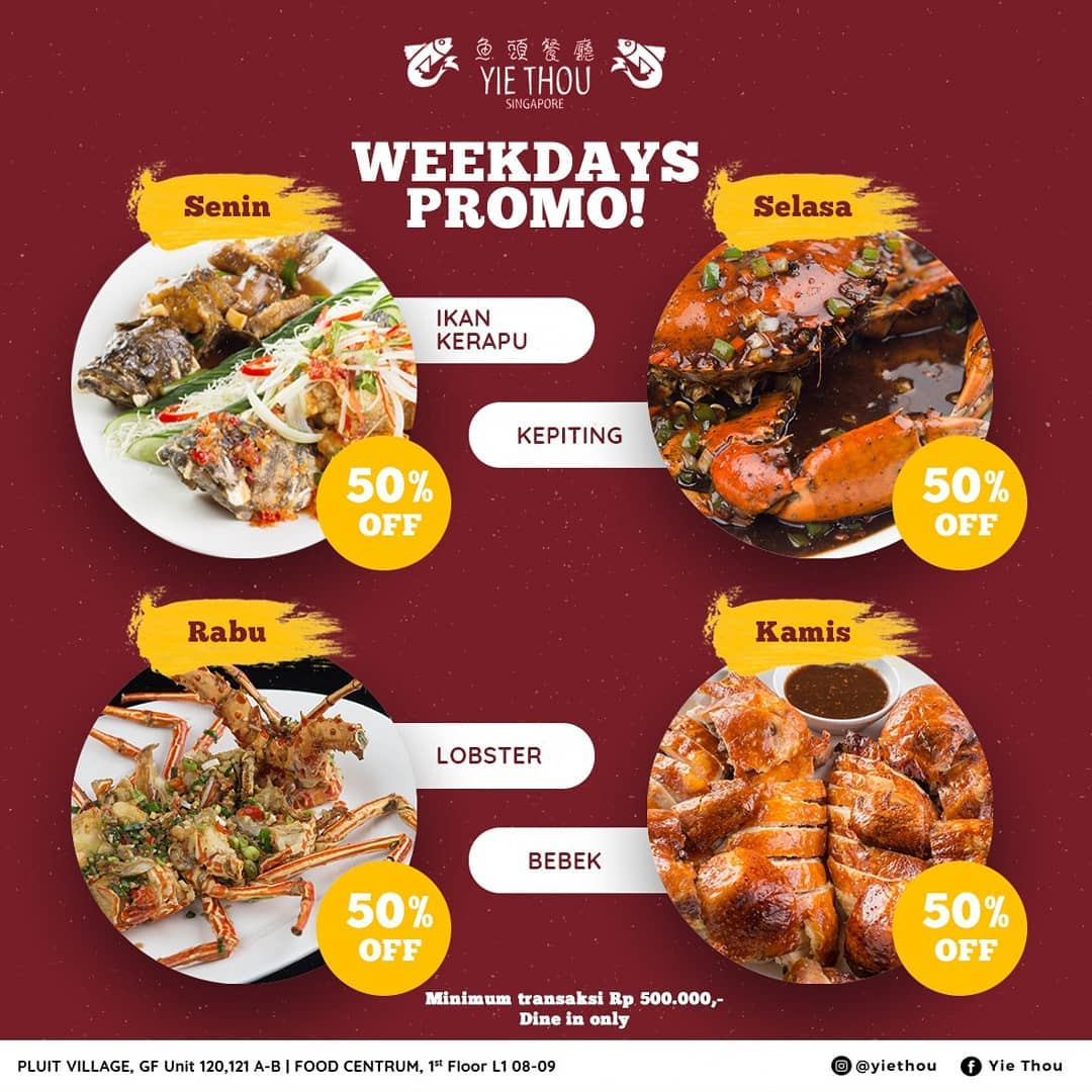 Weekdays Promo 50% Off
