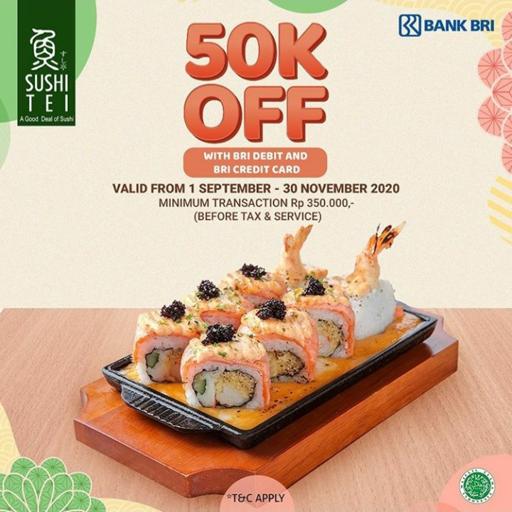 Sushi Tei 50K OFF with BRI