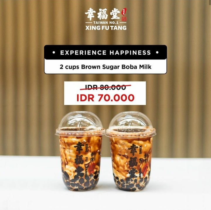 Experience Happiness - 2 cups Brown Sugar Boba Milk