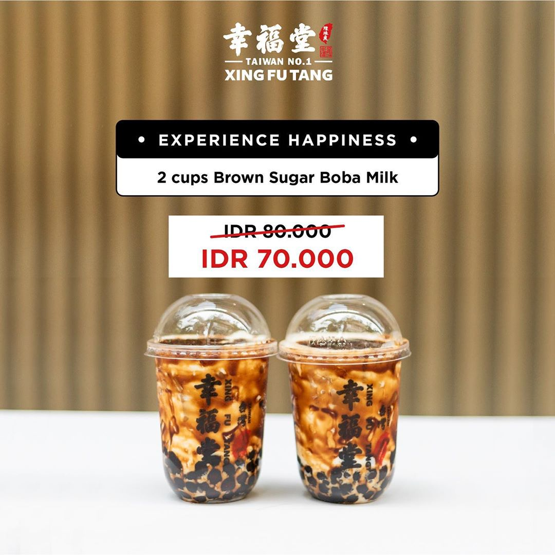 EXPERIENCE HAPPINESS! 2 Cup Brown Sugar Boba Milk Only Rp.70.000