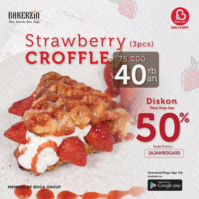Strawberry Croffle 3 pcs only 40kan
