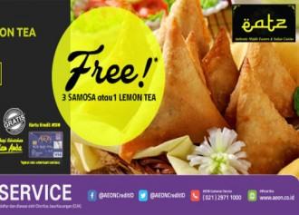 Gratis 3 (tiga) samosa atau 1 (satu) lemon tea