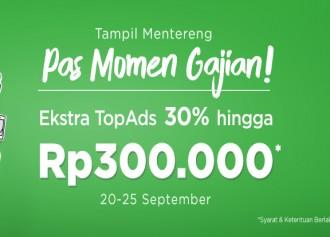 Ekstra TopAds 30% Hingga Rp 300,000