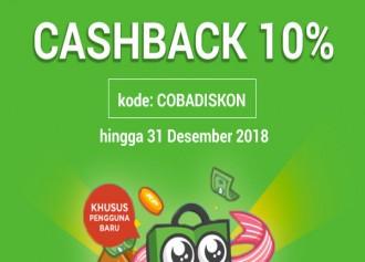 Cashback 10% Pengguna Baru