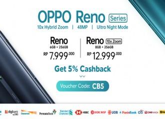 5% Cashback untuk OPPO Reno Series!