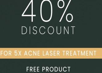 40% Off setiap pembelian 5X Acne Laser Treatment